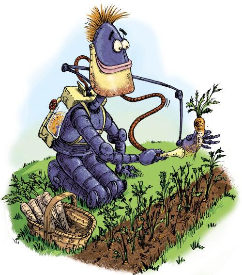 Illustration of purple robot picking carrots