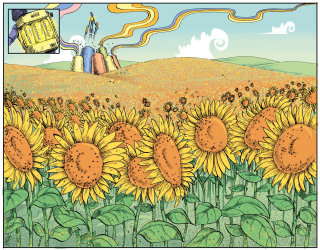 Sunflowers illustration by Sholto Walker