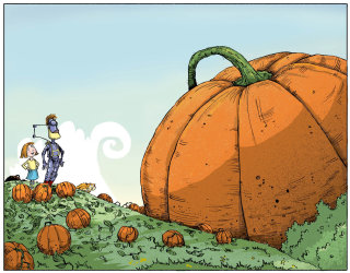 Illustration of purple robot & girl looking at a giant pumpkin