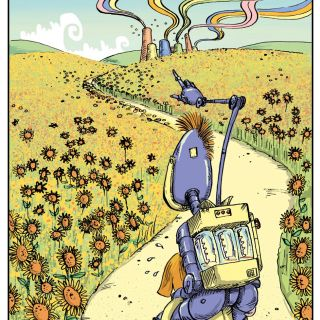Purple robot in sunflower feild - An illustration by Sholto Walker