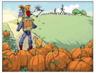Children's book illustration of robot carrying girl