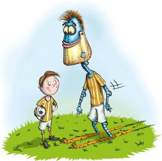 Robot and boy illustration by Sholto Walker