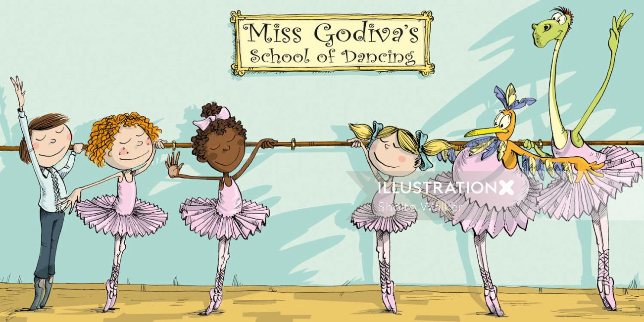 Illustration of Children and monsters at ballet school