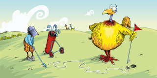 An illustration of Golf between children and monsters
