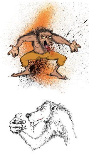 Werewolf drawings by Sholto Walker
