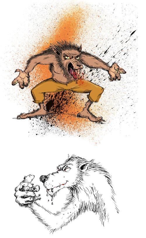 Werewolf drawings by Sholto Walker