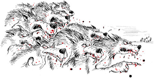 line drawing of deadly wolves