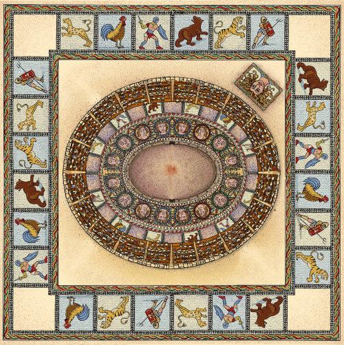 Roman board game graphic design