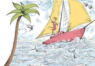 An illustration of a boy in the sailing boat