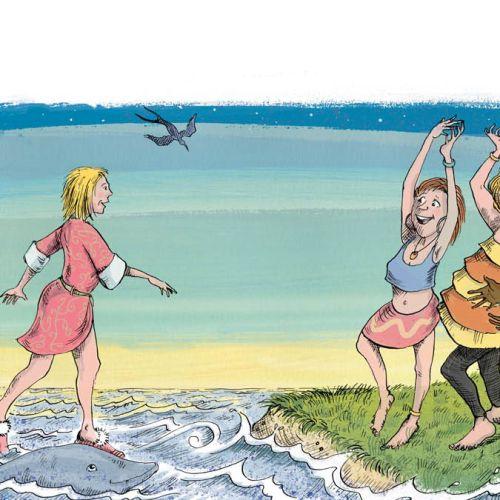 Women dancing in beach, illustration by Sholto Walker