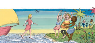 Women dancing in beach, illustration by Sholto Walker