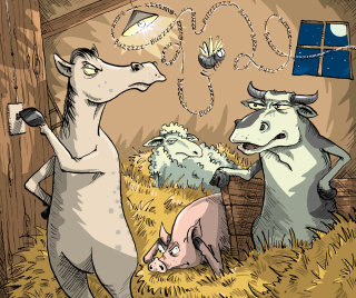 Comic farm animals illustration by Sholto Walker