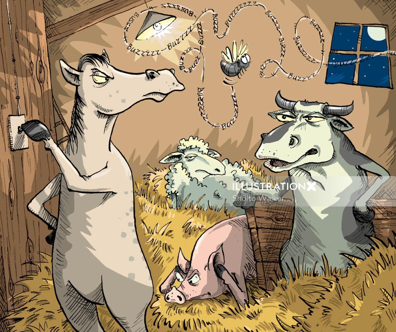 Comic farm animals illustration by Sholto Walker