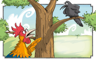 Illustration of Crow and Rooster