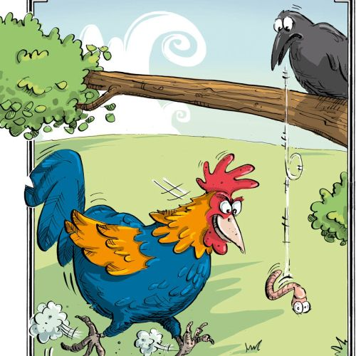 Rooster and crow illustration | Humour style gallery