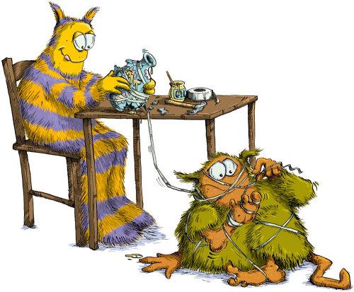 Illustration of two comic creatures repairing a vase