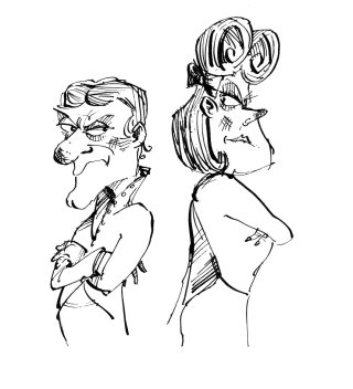 Black and white line drawing illustration of a man and woman