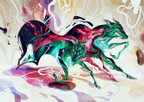 Chinese style illustration of horses