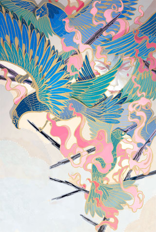Painting of beautifully colored peacocks