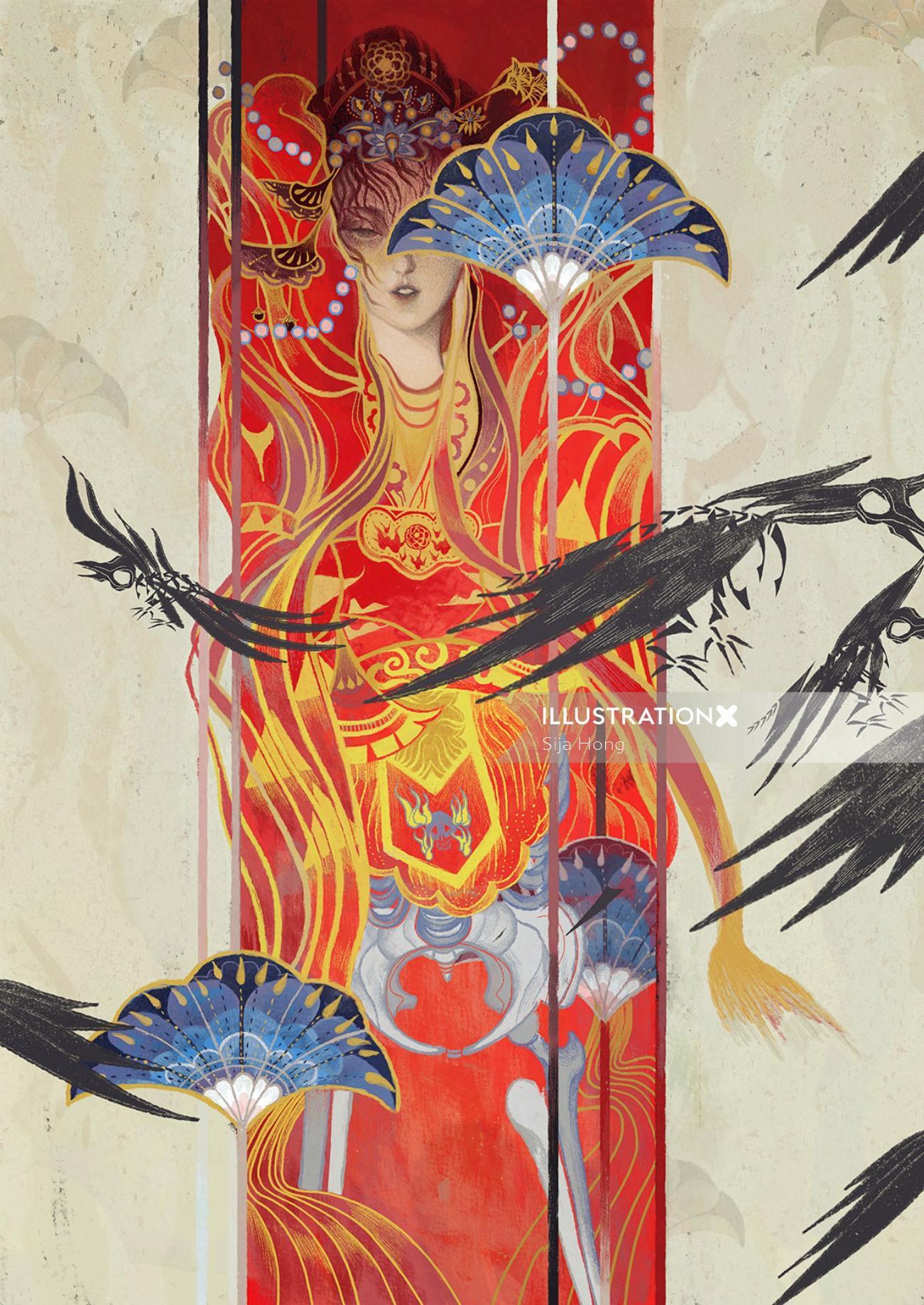Fantasy woman and bird art by Sija Hong