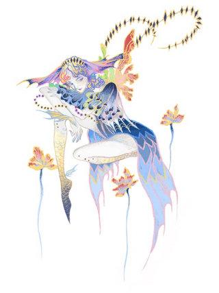 Six Siren titled woman fairytale illustration