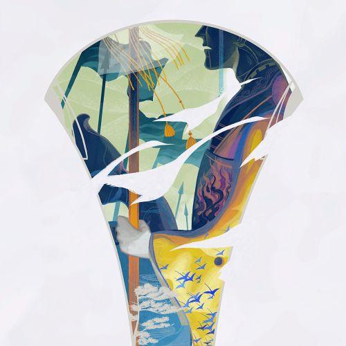 Man illustration on glass