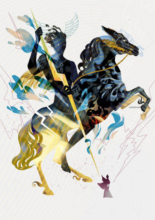 Man and horse in thunder illustration