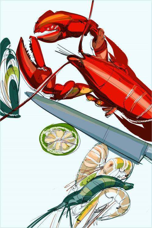 Illustration de nourriture et de boisson de crabe