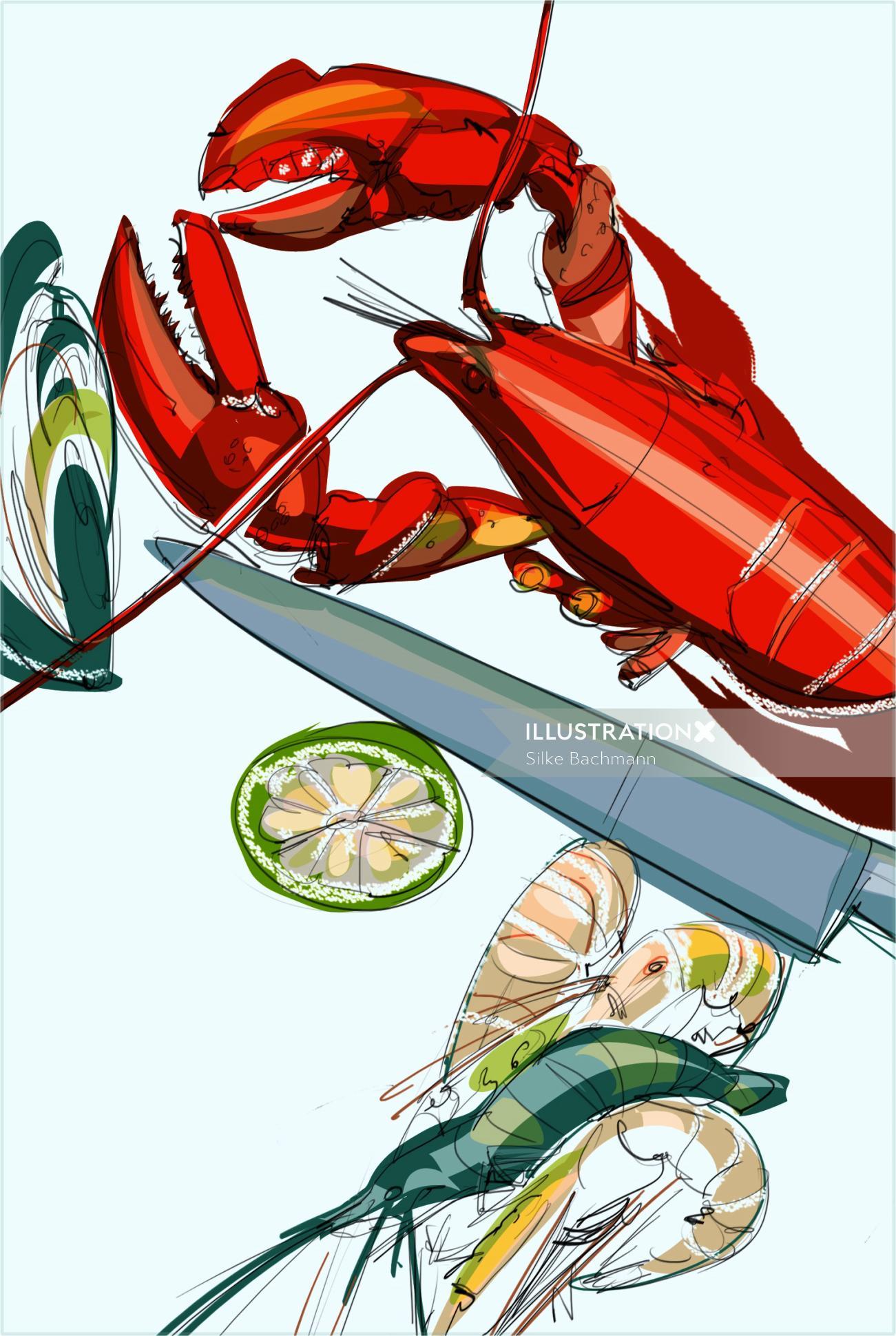 Food & Drink illustration of Crab