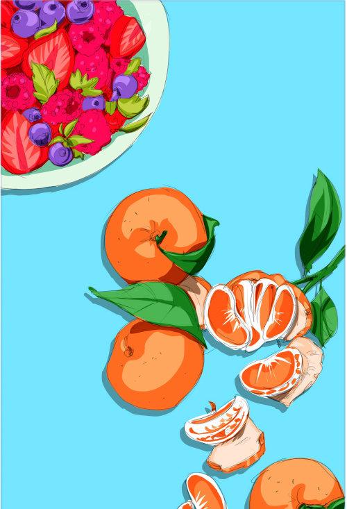 Illustration de nourriture et de boisson d'oranges et de baies bleues
