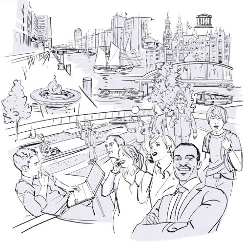Line illustration of city and people