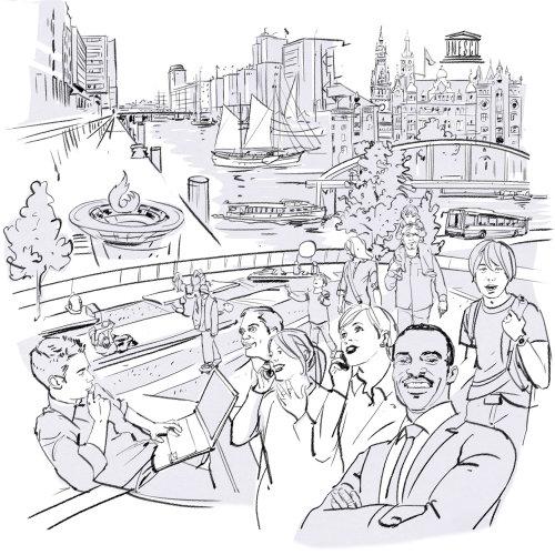 Illustration de la ligne de la ville et des gens