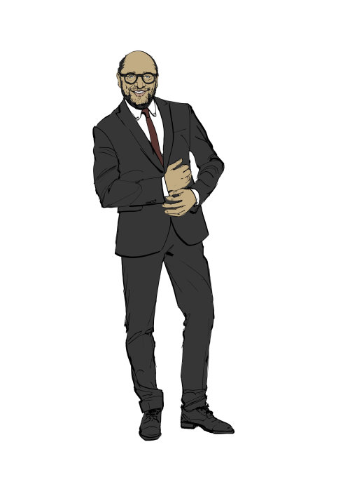 Men black suit fashion illustration