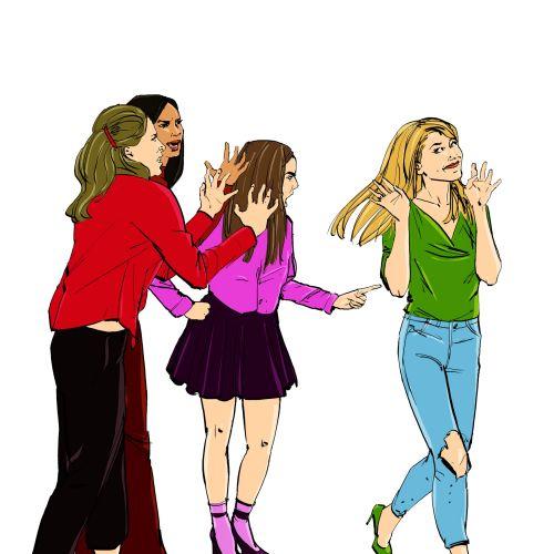 watercolor painting of teenagers quarel