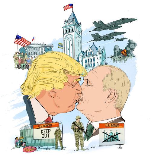 Sarcastic Portrait of Trump and Putin kissing