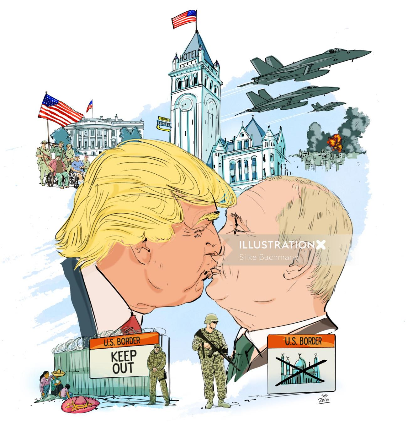 Sarcastic Portrait of Trump and Putin kissing