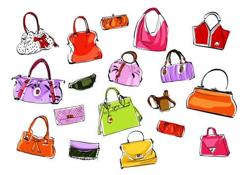 Girl handbag fashion illustration