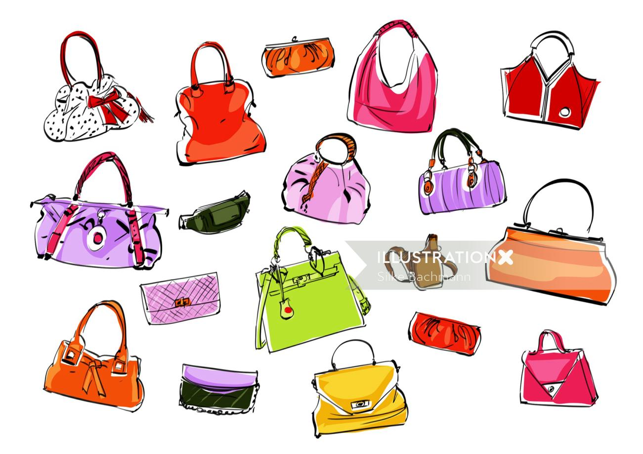 Girl handbag fashion illustration