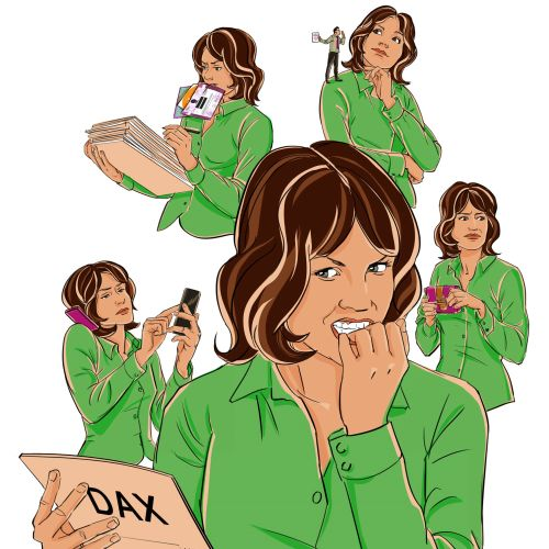 Comic character of multitasking woman