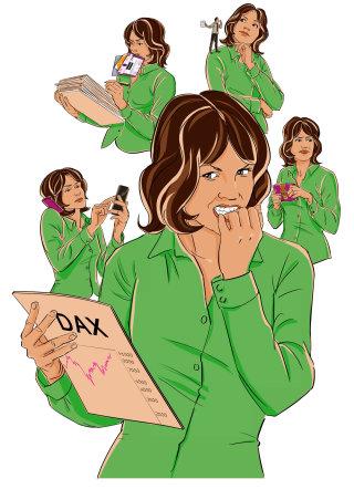 Comic character of multitasking woman
