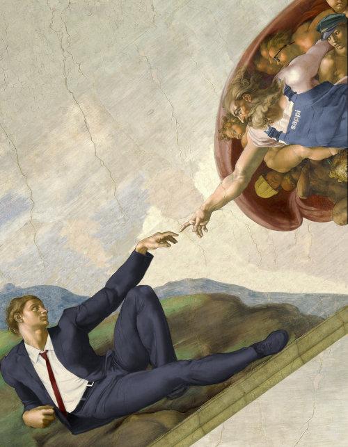 Retro illustration of man touching god