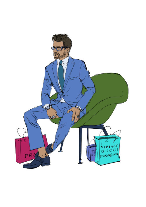 Line drawing of man with shopping bags