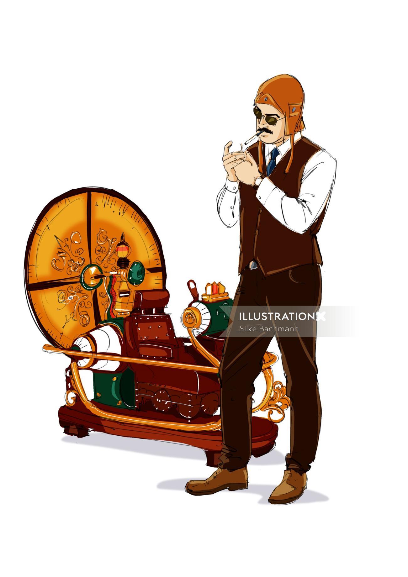 Man smoking cigarette vector art