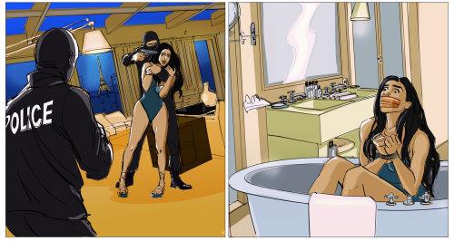 Illustration lâche de femme avec voleur