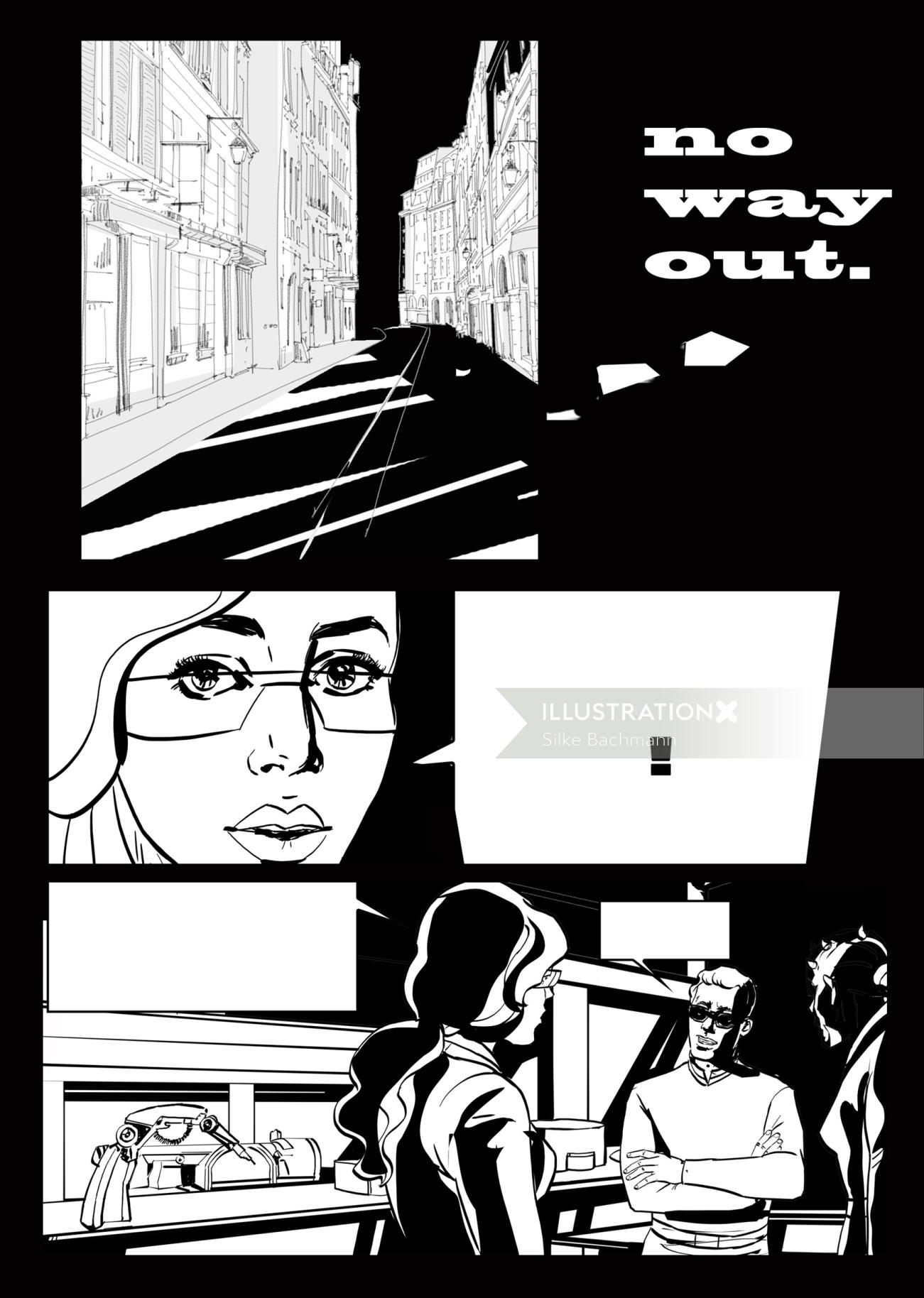 Graphic illustration of No way out