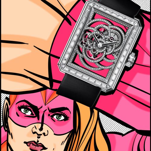 Pop illustration of super hero with watch