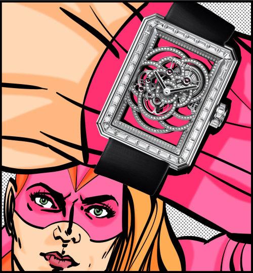 Illustration pop de super héros avec montre