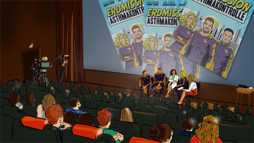 Illustration of people interviewing in auditorium