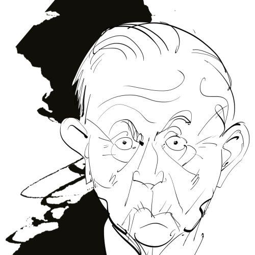 Line illustration of old man