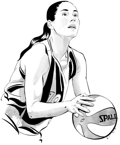 Joueur de basket-ball féminin au crayon